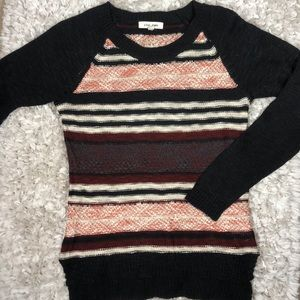 Pink Rose Striped Sweater